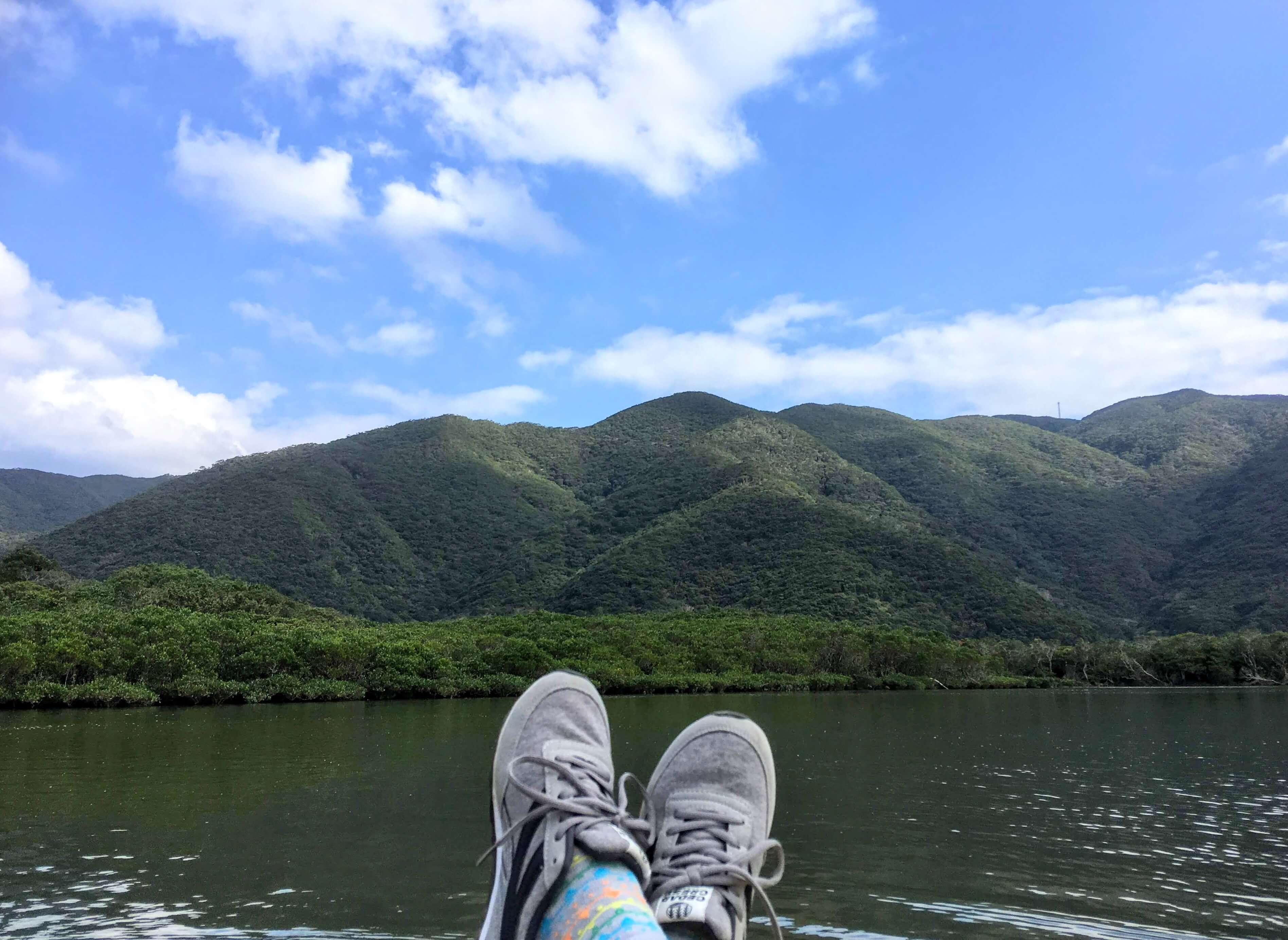 カヌーの上でのんびり