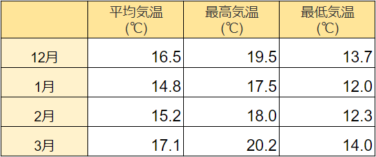 奄美大島の冬の服装や気温