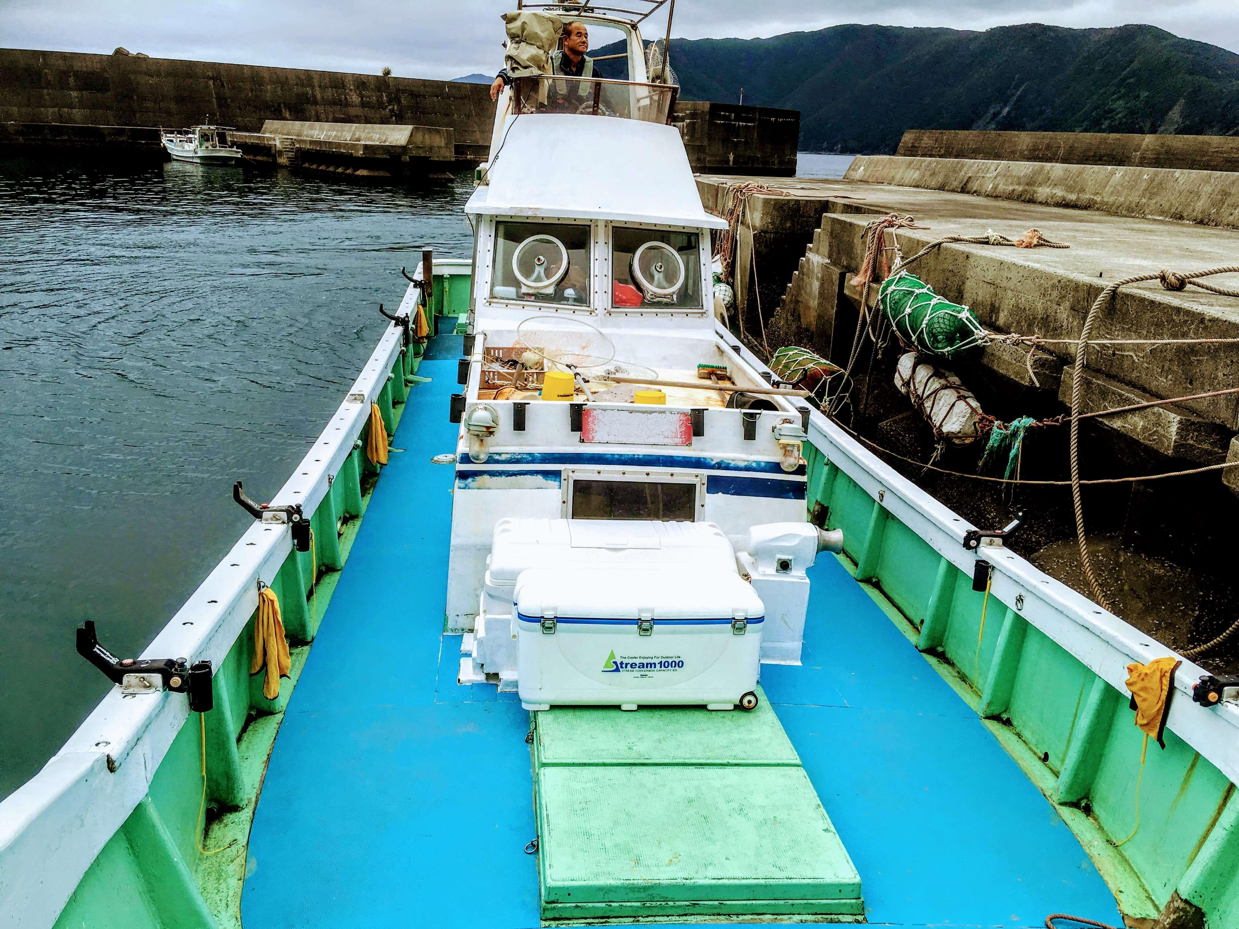 ホエールウォッチングで乗り込む船