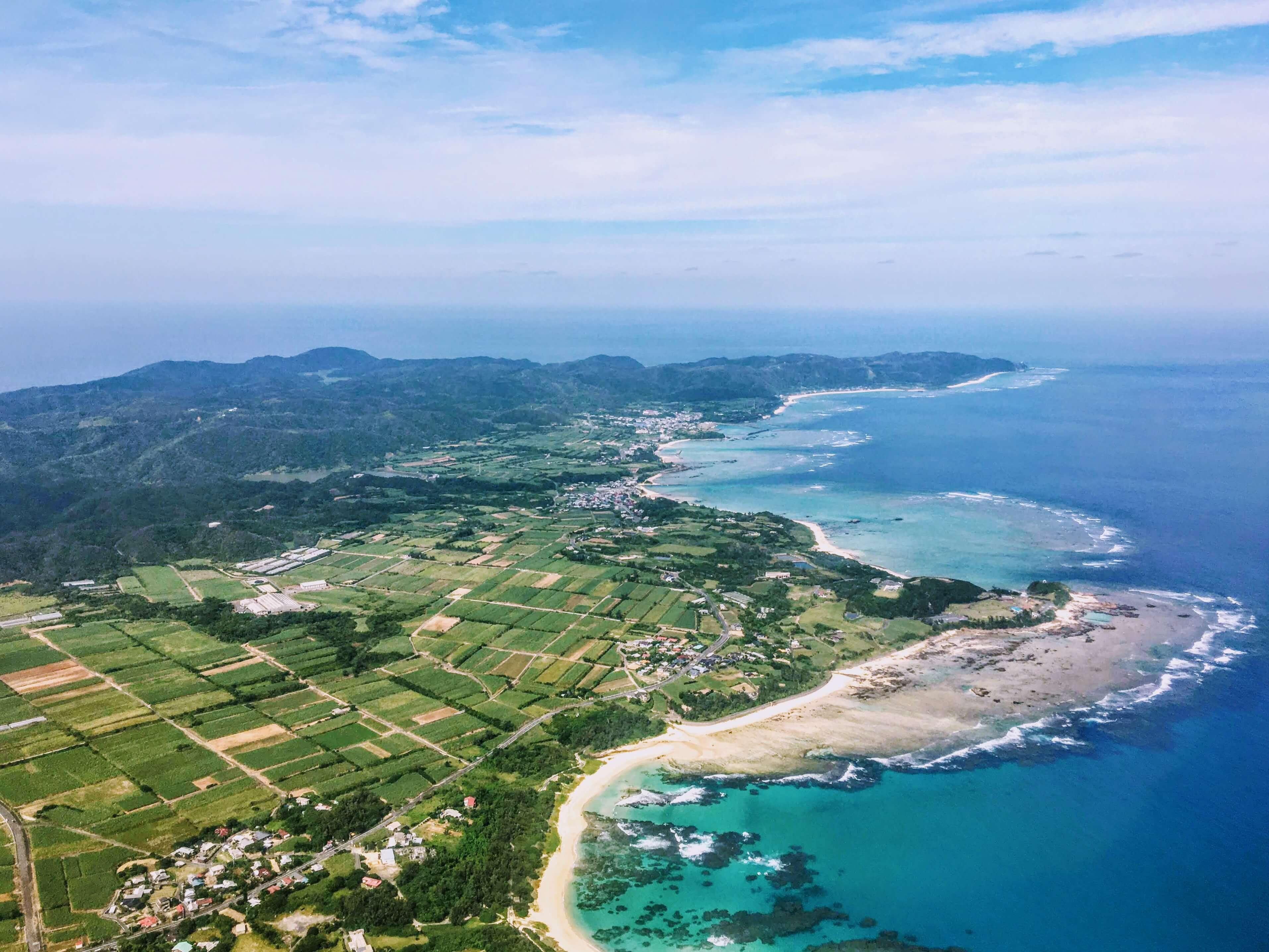 空から見た奄美大島