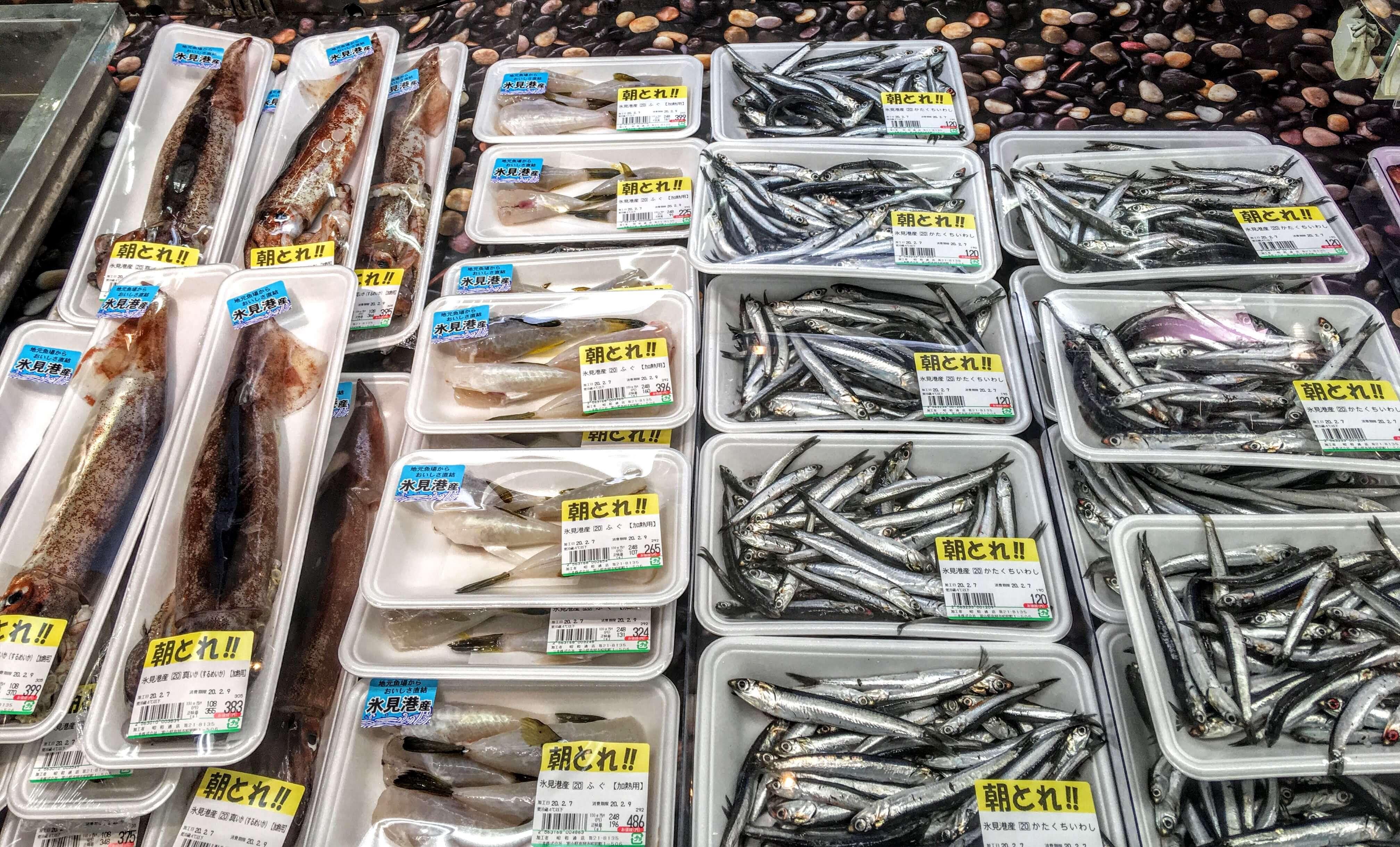 富山県高岡市に移住、スーパーの鮮魚コーナー